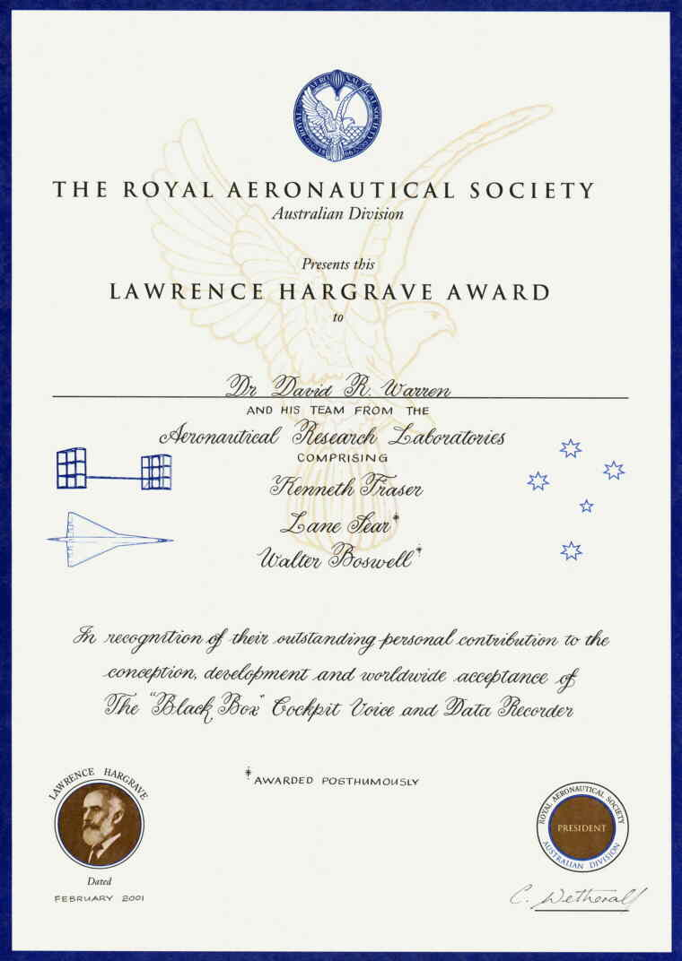 Lawrence Hargrave award February 2001